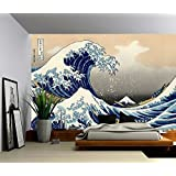 Picture Sensations Canvas Texture Wall Mural, The Great Wave off Kanagawa - Hokusai, Self-adhesive Vinyl Wallpaper, Peel & Stick Fabric Wall Decal - 48x36