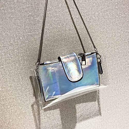 para Transparente de Transparente Sliver de PVC Bolsos Cruzados Hombro Cadena Mujeres Sliver del Bolso Las tHzHqUwZxv