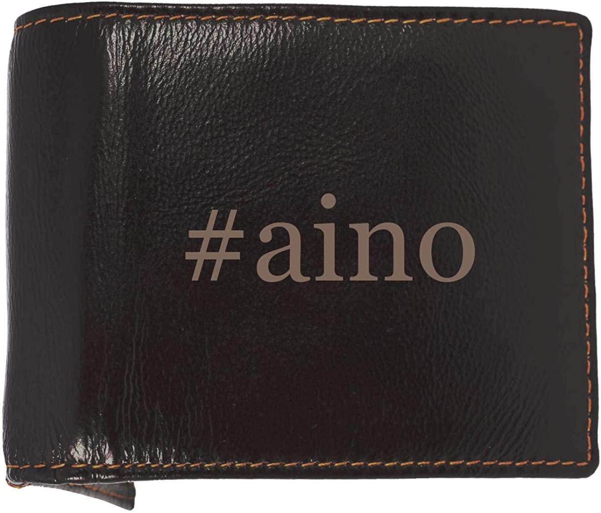 #aino - Soft Hashtag Cowhide Genuine Engraved Bifold Leather Wallet