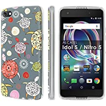 [Nakedshield] Slim Form Fit For [Cricket Exclusive] Alcatel Idol 5 [Clear] Total Armor Rubber Gel Phone Case - [Pattern Sea Turtle] Print Design