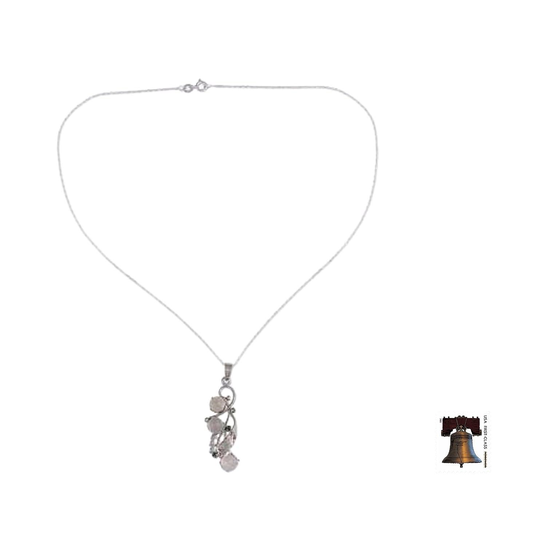 NOVICA Multi-Gem Moonstone .925 Sterling Silver Pendant Necklace 18 Radiant Bouquet