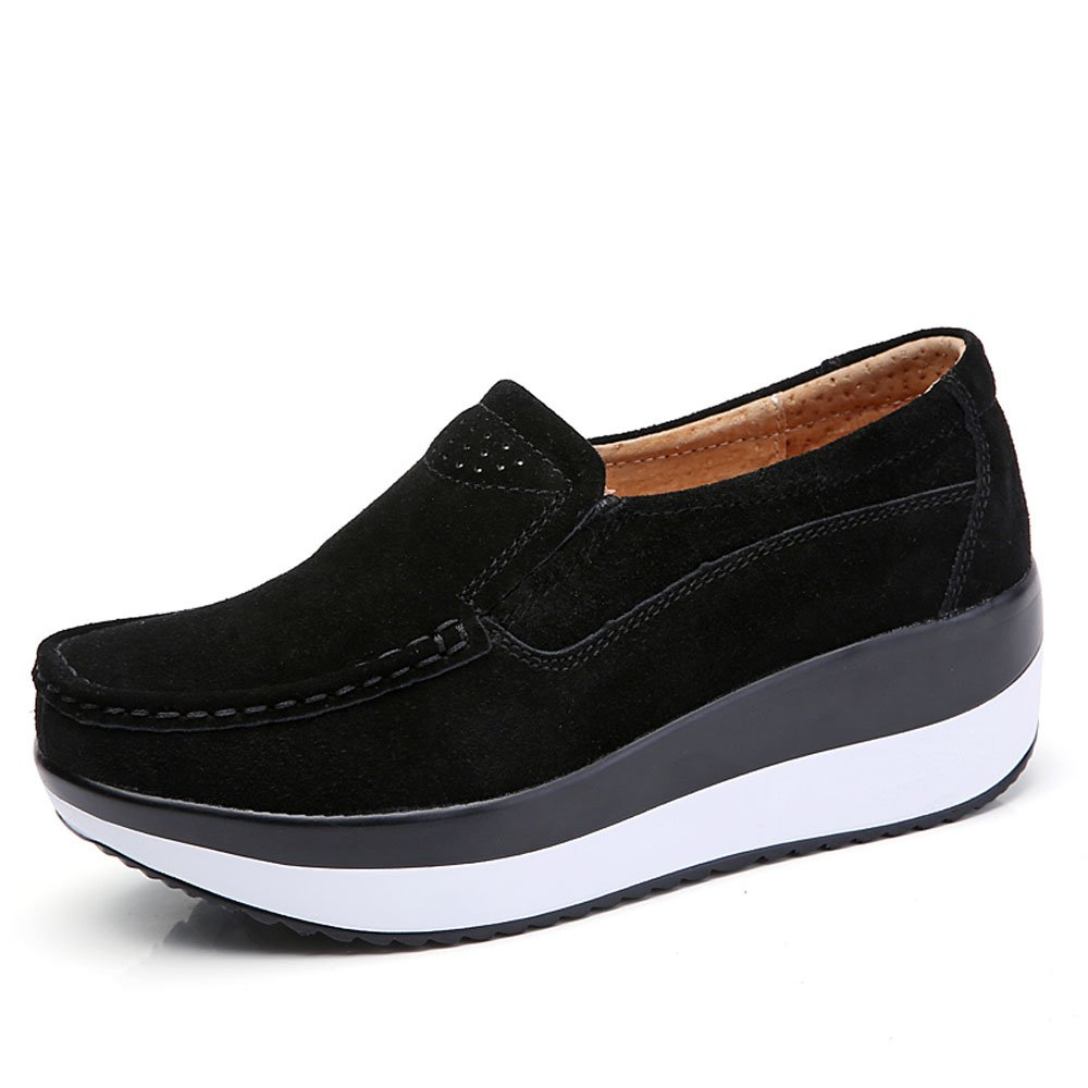 YZHYXS Womens Black Sneakers Flat Platform Slip On Loafers for Women Suede Cow Leather Comfort Wedge Walking Shoes Size 8 (3213black39)