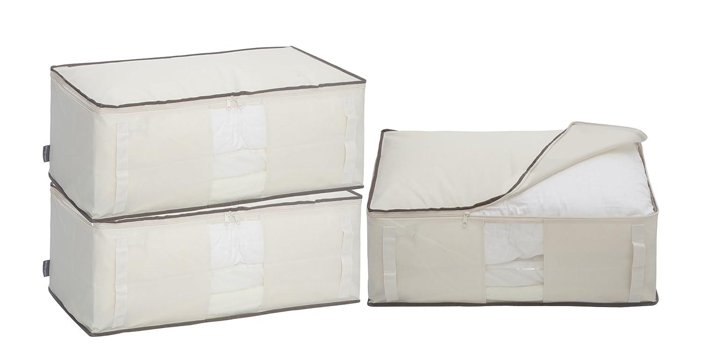 STORAGE MANIAC Canvas Storage Bag, Blanket Storage Zipper, Clear Window & Handles, 3-Pack, Beige STM1308000023
