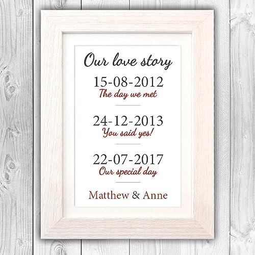 Personalised 1st paper wedding anniversary gift/Met, Engaged, Married Wedding gift/Anniversary present/Valentines day gift VA122: Amazon.co.uk: Handmade