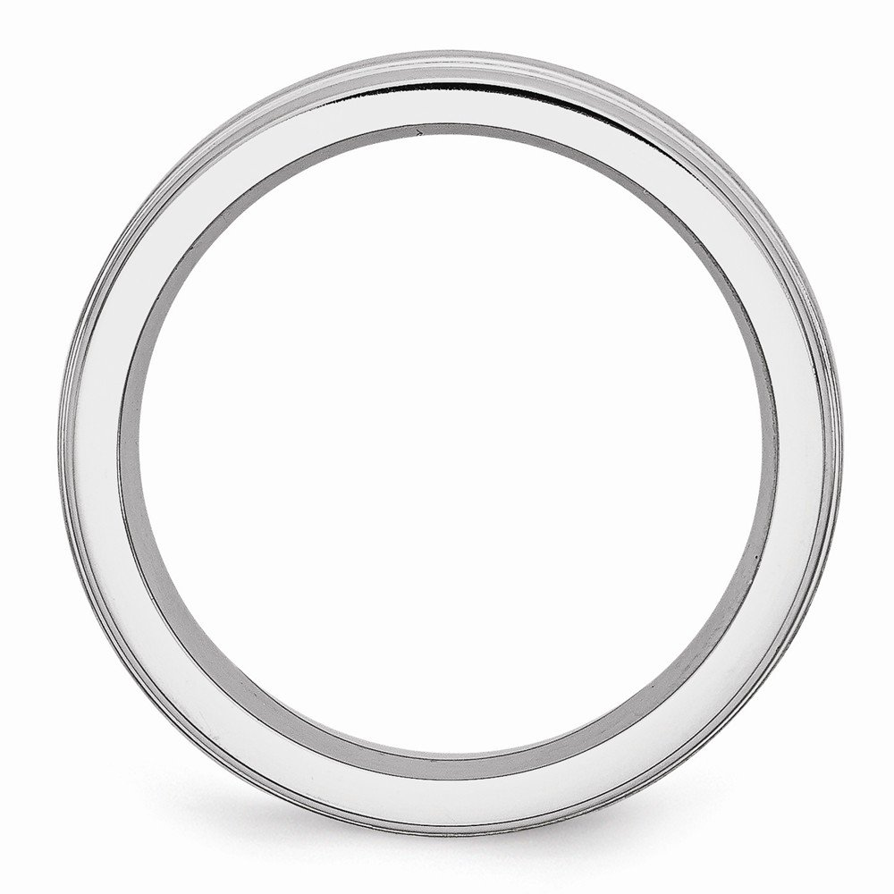 Wedding Bands Classic Bands Flat Bands w//Edge Cobalt Satin and Polished Ridged Edge 6mm Band Size 10.5