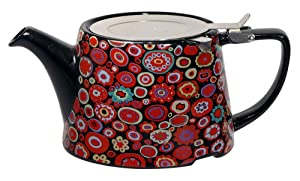 The London Pottery Co & Kaffe Fassett A03559 Ceramic Teapot With Infuser, 26.5 fl. oz, Paperweight Gypsy