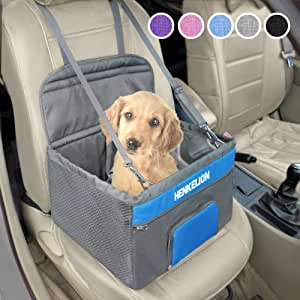 Henkelion Pet Booster Seat,Deluxe Pet Dog Booster Car Seat for Small Dogs/Medium Dogs, Reinforce Metal Frame Construction | Portable Waterproof Collapsible Dog Car Carrier with Seat Belt - Grey Blue