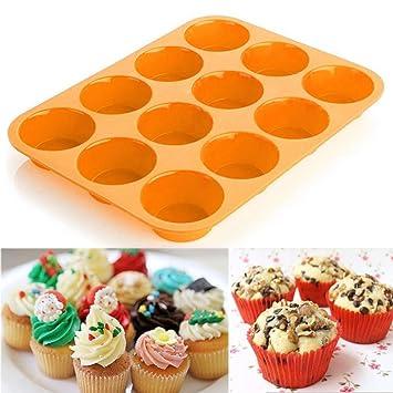 Molde para tartas, Clode® 12 Copa Silicona Muffin Cupcake molde para hornear antiadherente apta para lavavajillas se puede usar en microondas 29.5*22*2cm ...