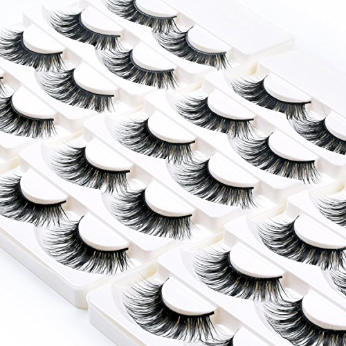 Wleec Beauty Long Dramatic Eyelashes False Eyelash Pack Thick Strip Lashes #F43/L (15 Pairs/3 Pack) - Long Eyelashes Eyelash