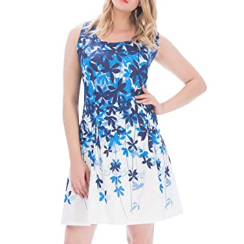 369d86a7ea8c HP95 Women Fashion Mini Dress Sleeveless Round Neck Flower Printed Pleated  Hem Slim Waist Bodycon Beach