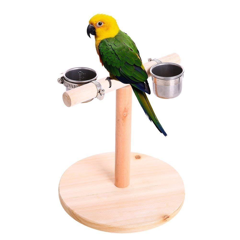 Litewood Bird Perch Wood Training Stand Parred Wooden Platform Stand with Stainless Steel Feeder Cup for Parakeet Conure Cockatiel Cage Accessories Exercise Toy (Design 2 (2 Cups))