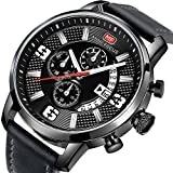 MINI FOCUS Men Watches Gray Leather Strap Fashion Business Casual WristWatch (Analog Quartz,Waterproof ,Black ) for Family Gift