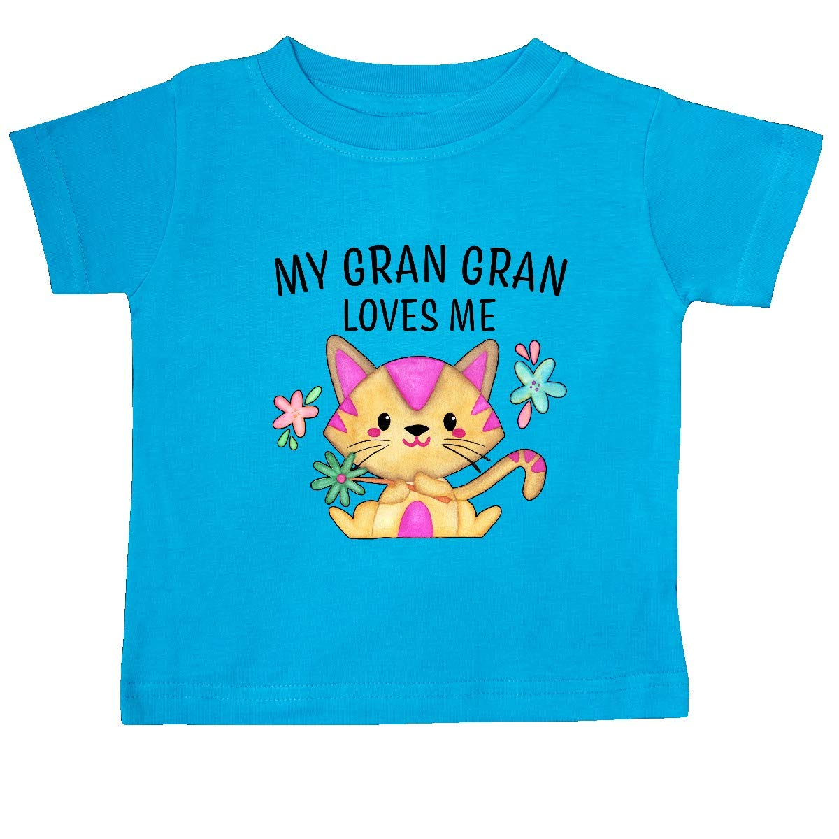 inktastic My Gran Gran Loves Me with Cute Kitten and Flowers Baby T-Shirt