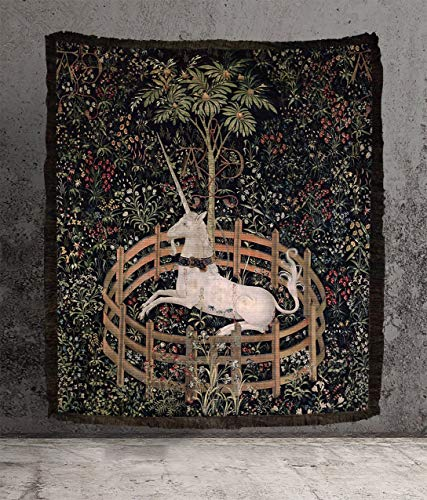 Large Woven Cotton Tapestry - Medieval Unicorn Tapestry