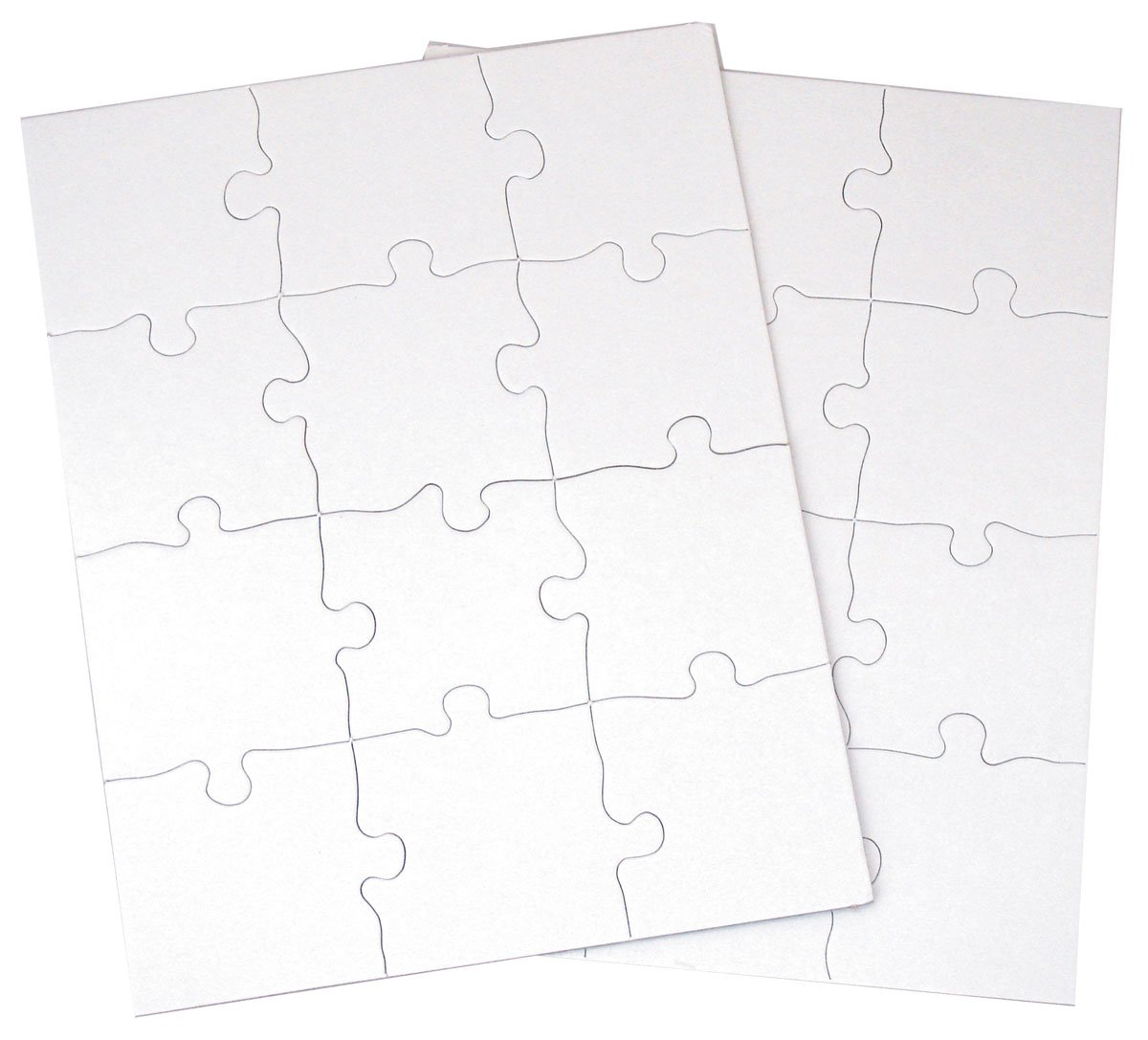8-1//2 x 11 White 12 Puzzles Per Package Inovart Puzzle-It 63-Piece Blank Puzzle