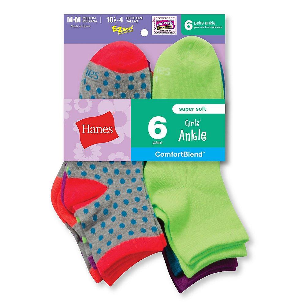 Hanes Girls Fashion ComfortBlend Ankle Socks