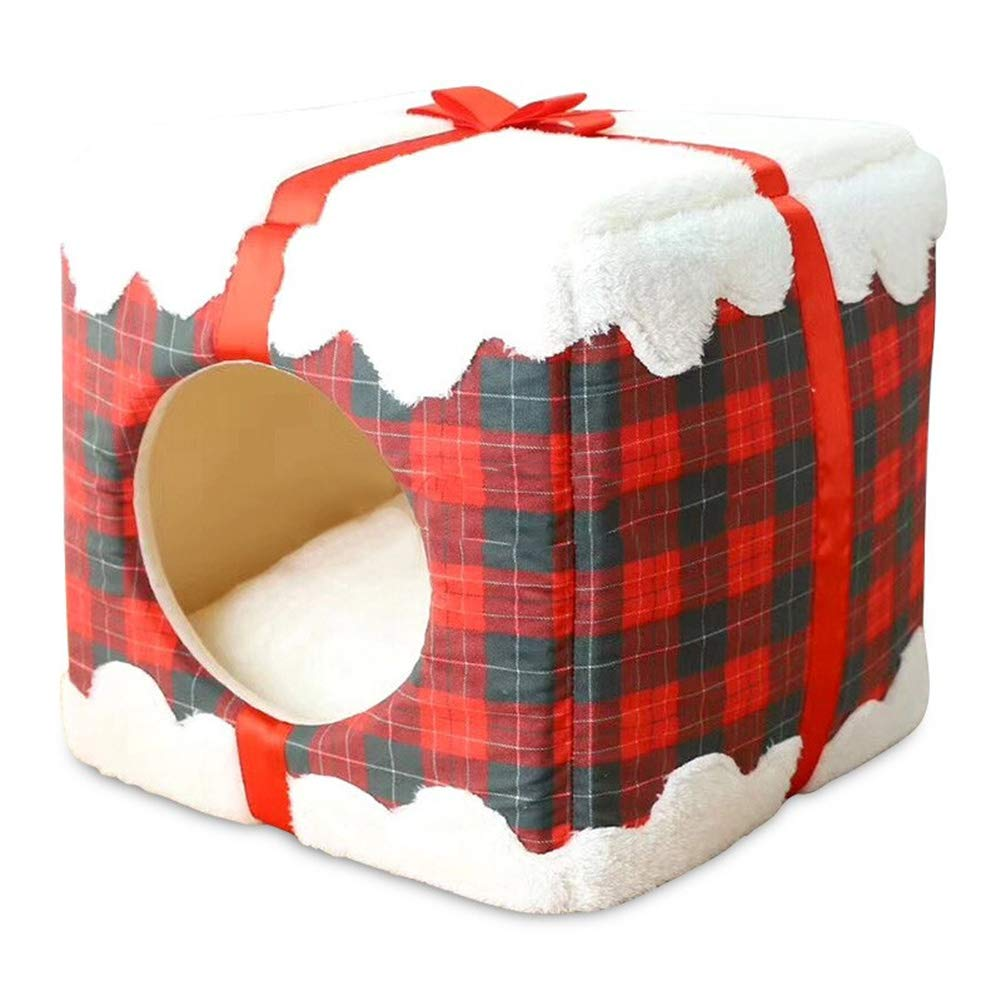 Christmasred Dog Cat House Bed Soft Fleece Warm Cat Cave Igloo With Cushion Washable,Red For Your Pet