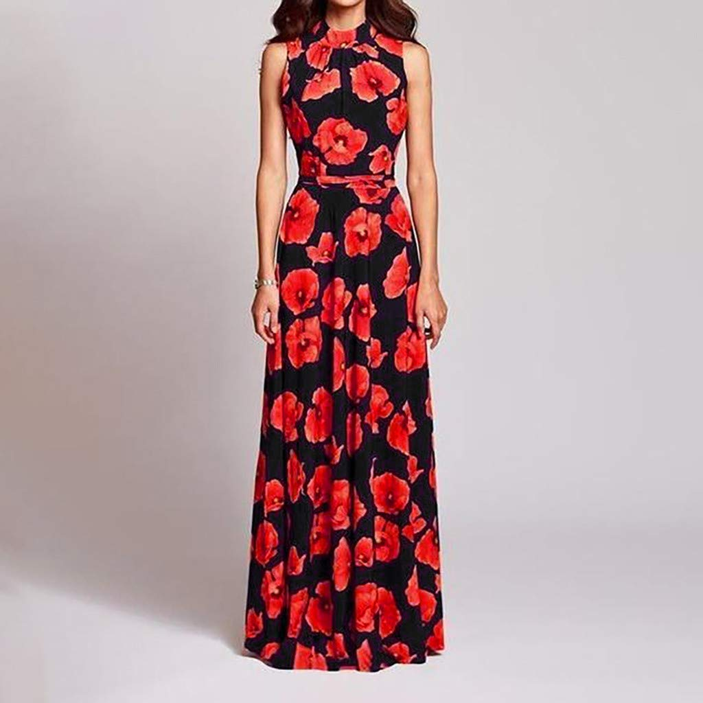 Women's Elegent O-Neck A-line Dress Casual Floral Vintage Evening Party Long Dress (Black, S) by Sihand (Image #2)