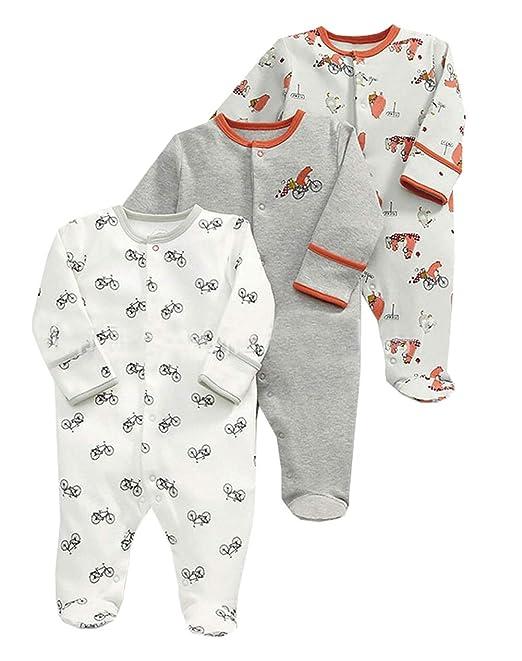 ZIHOUKIJ Bebé recién Nacido Unisex 3 Pack Algodón Footies Mameluco ...
