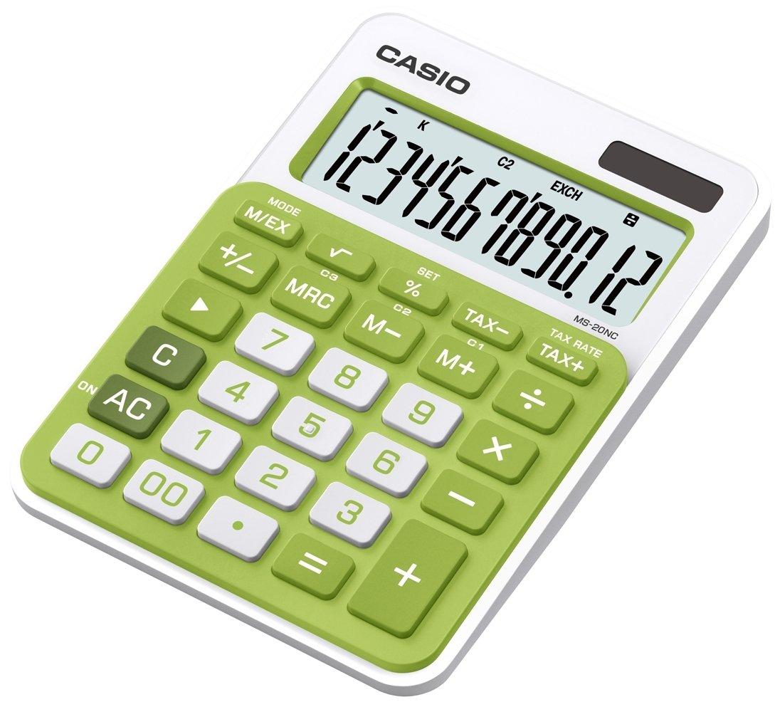 CASIO MS-20NC-GN calcolatrice da tavolo - Display a 12 cifre, struttura di colore bianco/verde
