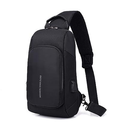 Amazon.com  GREFER Men Personality USB Charge Shoulder Bag Sling ... 32229302d0259