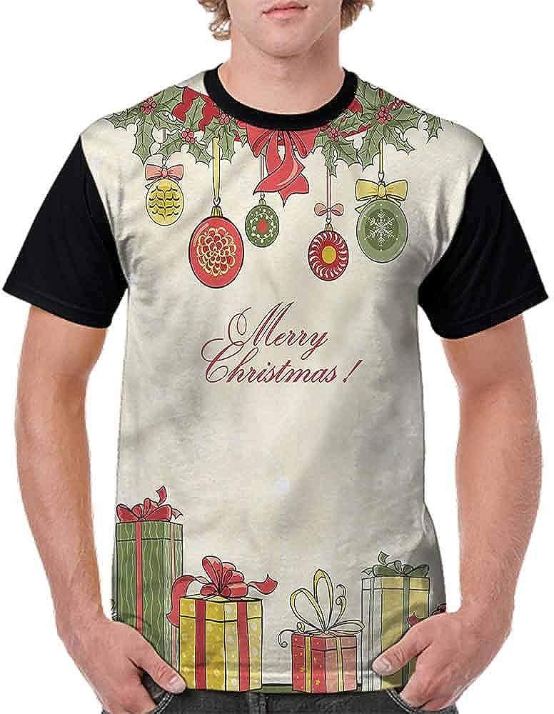 BlountDecor Trend t-Shirt,Mistletoe and Ornaments Fashion Personality Customization