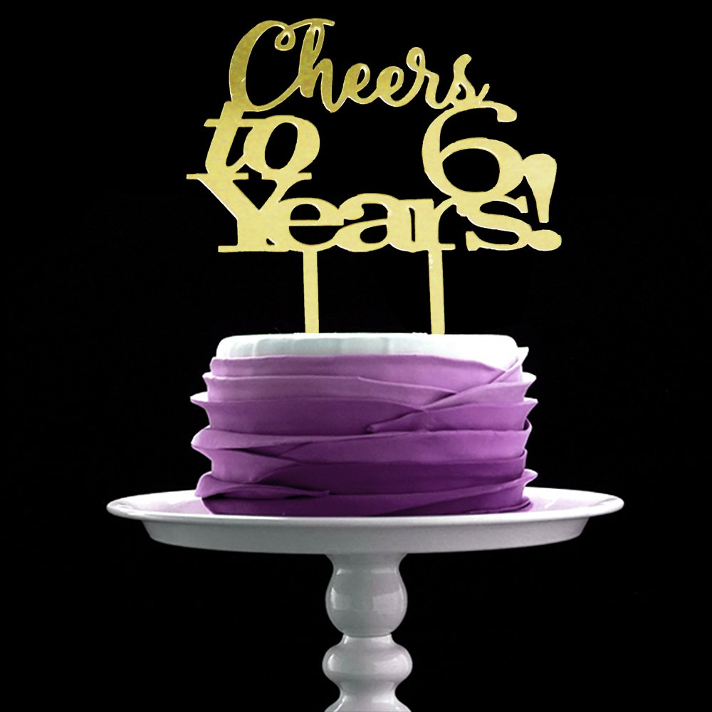 LOVELY BITON Gold Cheers to 6 Years Cake Topper Shining Numbers Letters for Six Wedding, Birthday, Anniversary Party.