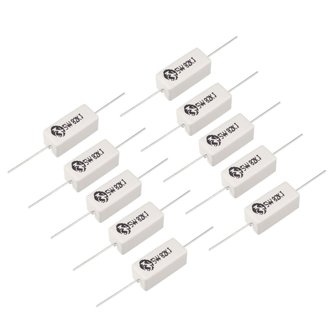 uxcell 5W 8.2 Ohm Power Resistor Ceramic Cement Resistor Axial Lead 15 Pcs White a18040600ux0003