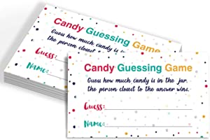 Candy Guessing Game Cards, Games Activities and Decorations, 50-Pack.