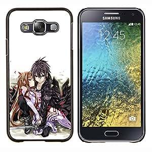 EJOOY---Cubierta de la caja de protección para la piel dura ** Samsung Galaxy E5 E500 ** --Pares lindos del beso del amor