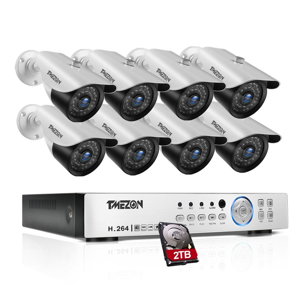 TMEZON AHD監視カメラ8台 200万画素 赤外線LED36個 3.6MM固定レンズ +8CH 1080Nレコーダー 2TB HDD付き(ホワイト) B01MU758C5 200万画素1080Nカメラセット|カメラ8台+8ch 1080Nレコーダー(2TB HDD付き) カメラ8台+8ch 1080Nレコーダー(2TB HDD付き) 200万画素1080Nカメラセット