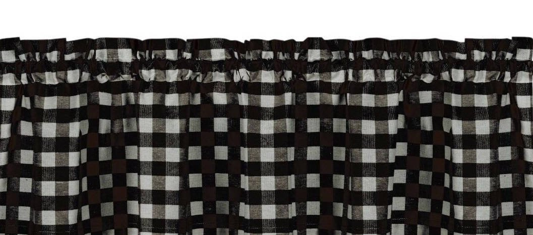 "Polyester Gingham Checkered Plaid Design Kitchen Curtain Valance Window Treatment 58"" long 15"" Tall (Black)"