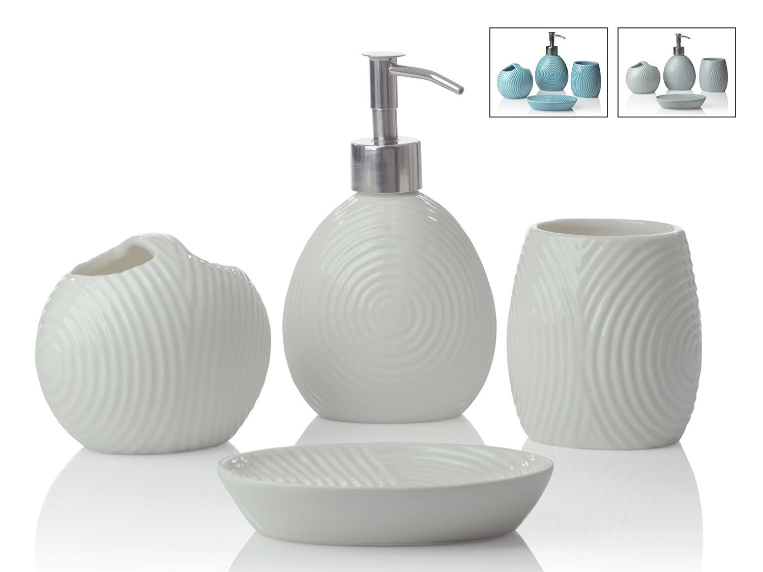 Amazon.com: Designer 4-Piece Ceramic Bath Accessory Set | Includes ...