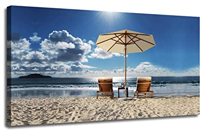 Blue Sky Beach Seascape Large Picture Wall Art Canvas Prints Home Decor Framed
