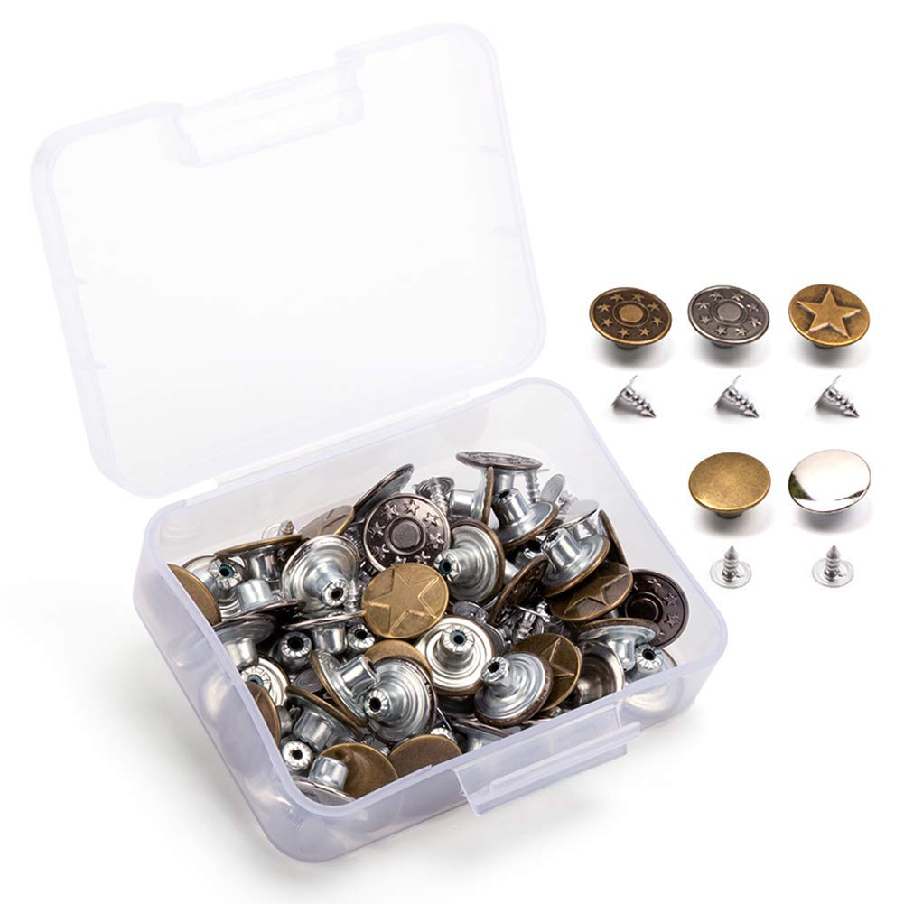 50 Set of Jeans Button Tack Buttons Metal Replacement Kit with Storage Box, 5 Style by Ofone