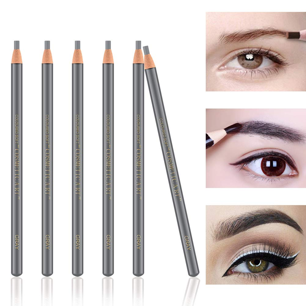 Ownest 6Pcs Pull Cord Peel-off Eyebrow Pencil Tattoo Makeup and Microblading Supplies Set for Marking, Filling and Outlining, Waterproof and Durable Permanent Eyebrow Liner-Gray