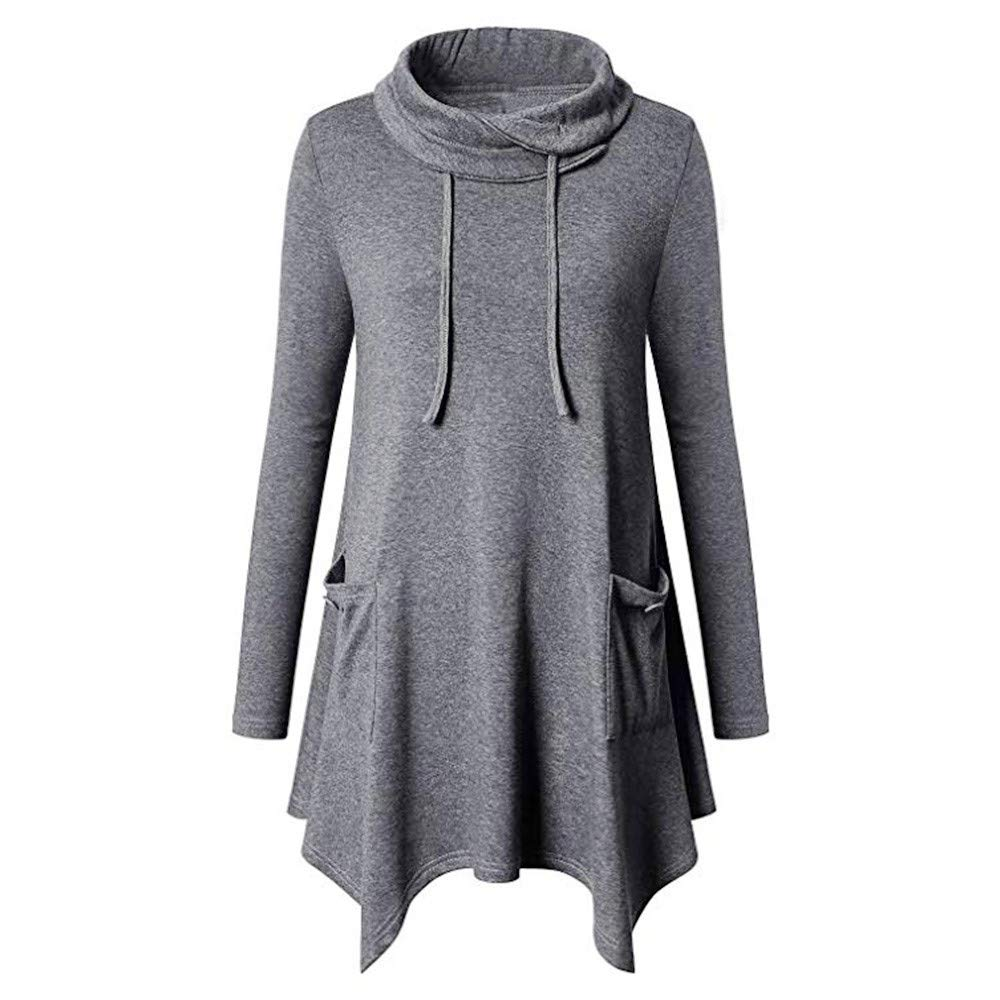 Hoodies Sweatshirt Women, Bovake Ladies Fashion Long Sleeve Cowl Neck Asymmetrical Hem Tunic Tops with Pockets Plus Size