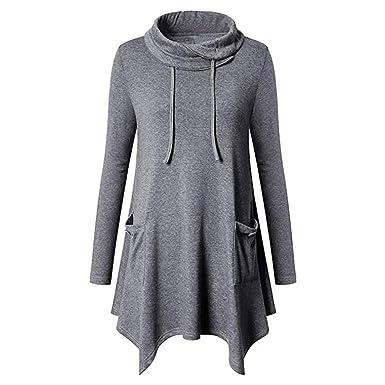 Moonuy Shirt Femme Manches Longues T-Shirt Casual Blouse Tops Tee Shirt Long  Chemisier pour Femmes Chemise à Mode Solide Manches Longues Tunique Haut  Slash ... 0c301586c54c