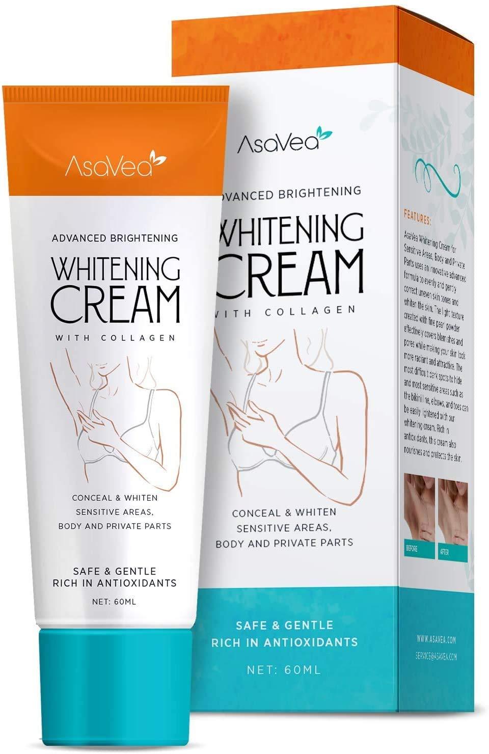 AsaVea Whitening Cream for women, Natural Underarm Cream,Armpit Brightening Cream, Between Legs - with Collagen, Armpit Lighting & Bikini Intimate Bleaching, Crotch & Nipple Whitening Cream