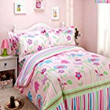Butterfly Love Flower Duvet Cover Set Pink Girls Bedding Kids Bedding, Full Size