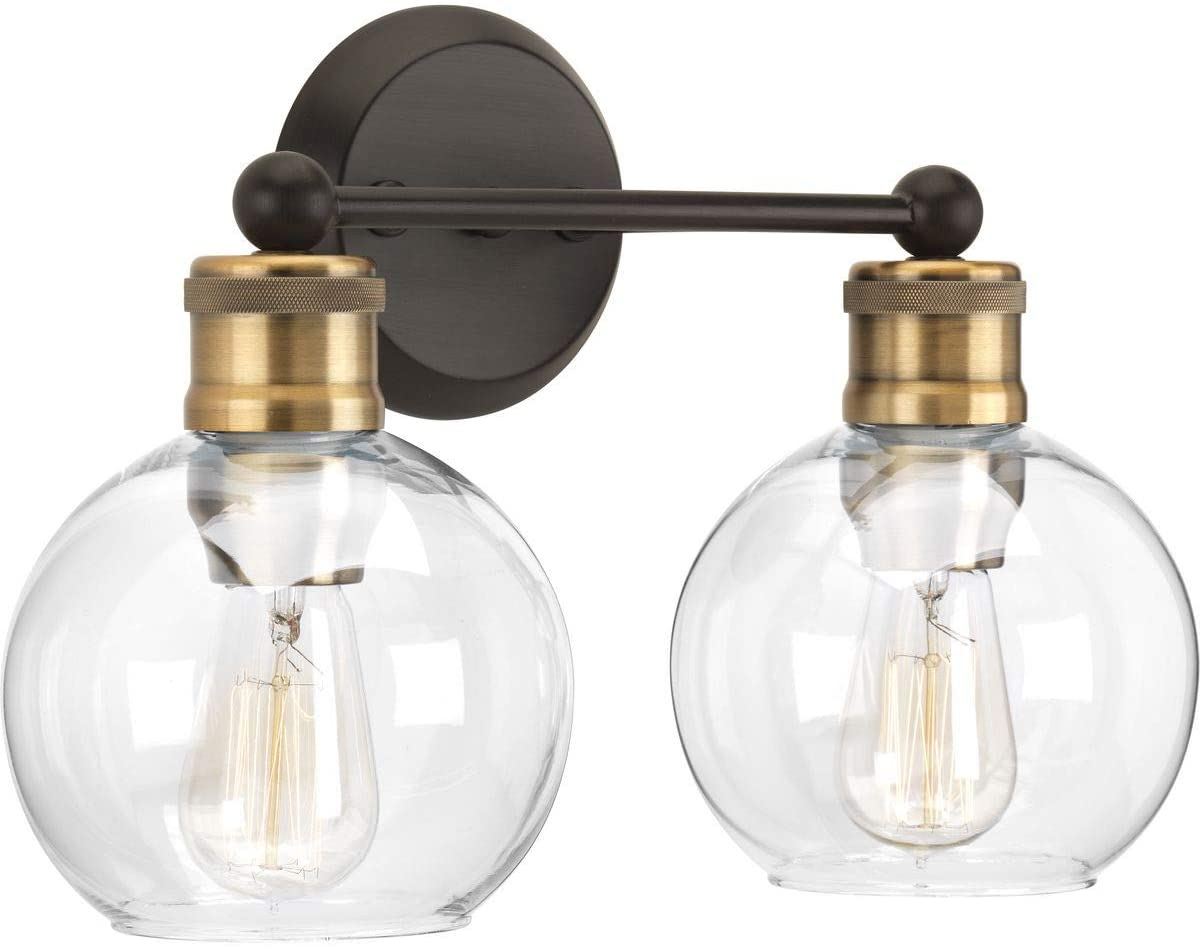 Hansford Collection Antique Bronze Two-Light Vintage Wall Light - -