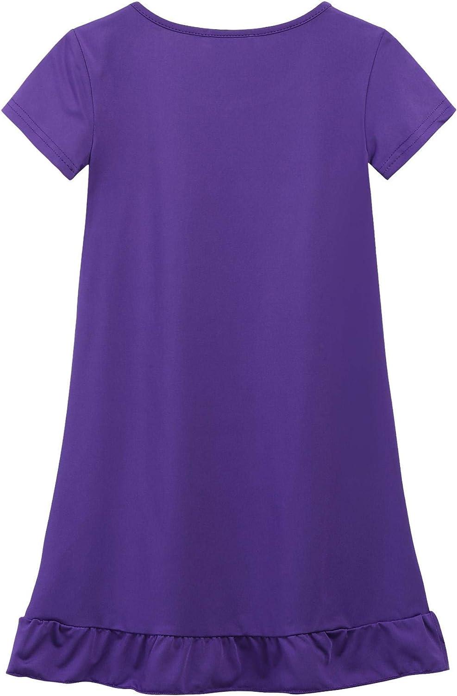 ADOME M/ädchen Einhorn Kleid//Nachthemd Rosa//Lila//Hellpurpur 110-150 Kurze /Ärmel Nachtw/äsche Drucken Nachthemden