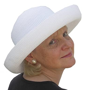 Ladies Deep Brim Straw Style Packable UV Protection Sun Hat (White ... d133783194e