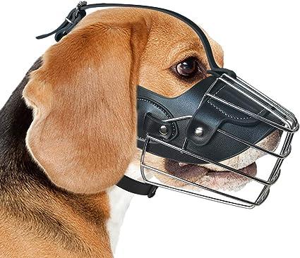 Medium Large Extra Dog Muzzle Adjustable Black Metal Leather Mouth Guard Adjustable Mask