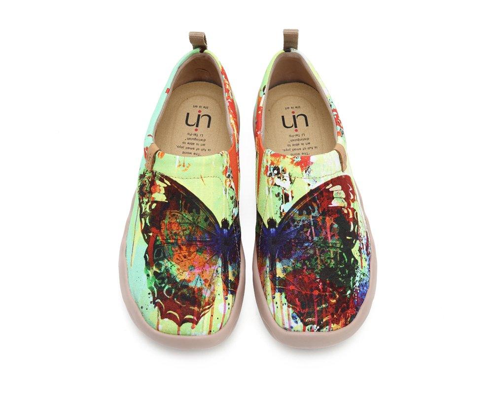 UIN Women's Butterfly Painted Canvas Slip-On Shoes Fashion Ladies Travel Shoes