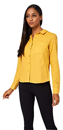 9c8a54cfc7 Love The Outfit Womens Yellow Soft Mustard Polka-dot Shirt (Ladies) - Size