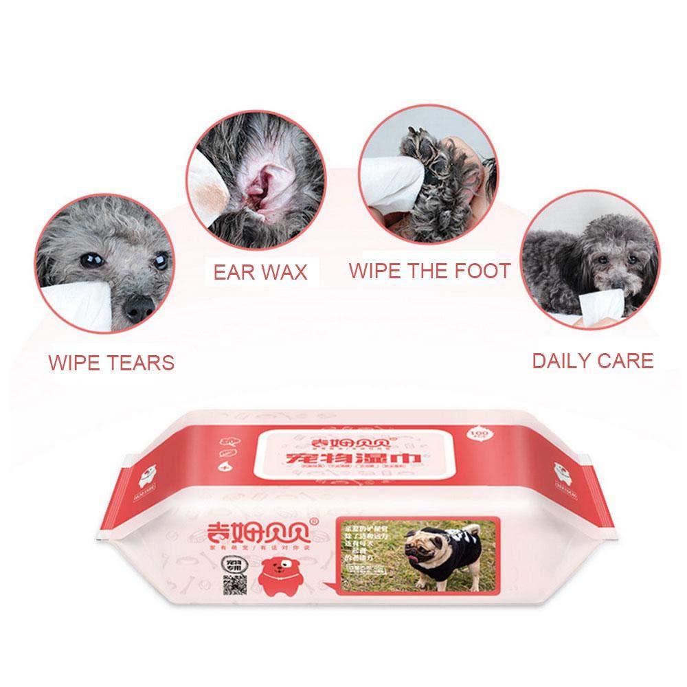 Aolvo 80 toallitas para oreja/ojos/cara/pajara/toallitas para perro, cachorro, gato, mascota, toallitas de aseo con aroma de limón - hipoalergénicas, ...
