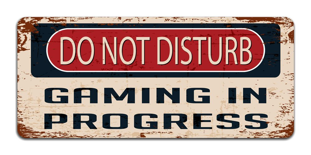 Print Crafted Do Not Disturb: Gaming In Progress - Vintage Metal Sign | Funny Bedroom, Office, Man Cave Door Decor