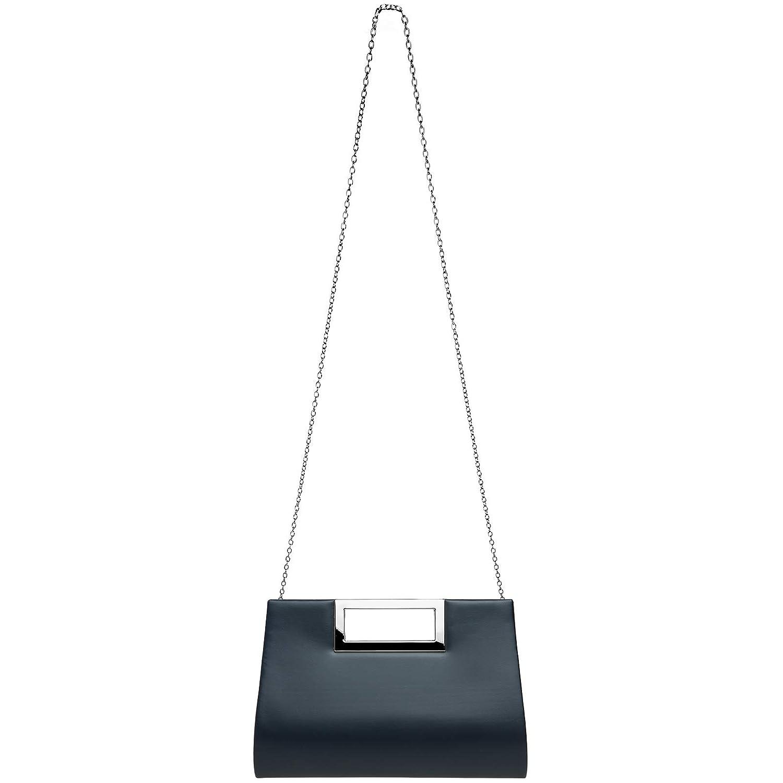 CASPAR TA408 Bolso de Mano XL para Mujer/Clutch de Fiesta con Asas Metálicas Rectangulares, Color:azul oscuro, Tamaño:Talla Única: Amazon.es: Ropa y ...