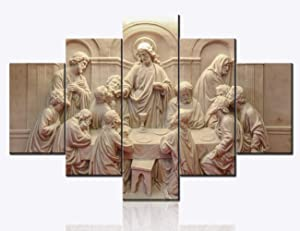 Jesus Pictures for Wall The Last Supper Sculpture Style Wall Art Christian Religious Paintings Artwork 5 Pcs/Multi Panel Canvas Home Decor for Living Room Wooden Framed Ready to Hang(60''Wx40''H)
